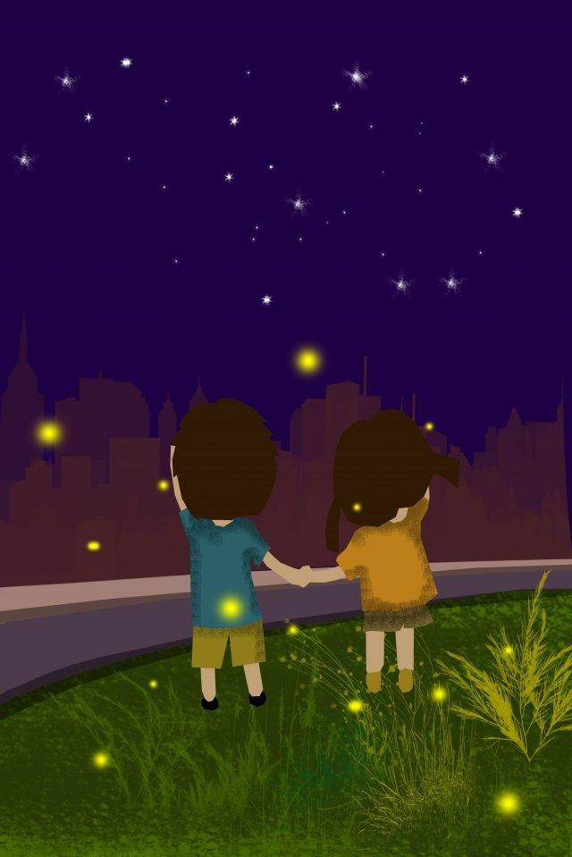 한여름 밤 하늘 평면 그림 일러스트레이션,여름,밤하늘,비행기,포스터,밤,스타,반딧불,도시,초원, 일러스트레이션, 여름, 밤하늘 PNG 및 PSD illustration image
