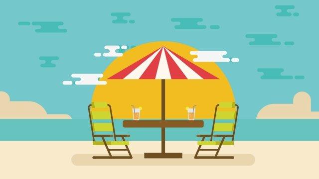 चित्रण गर्मियों के समुद्र तट छुट्टी की छुट्टी चित्रण छवि