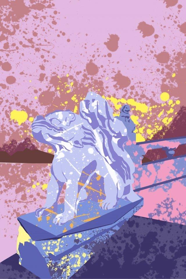 Summer Palace sư tử đá minh họa sáng tạo Minh họa Cung điệnHồ  Thắng  Họa PNG Và PSD illustration image