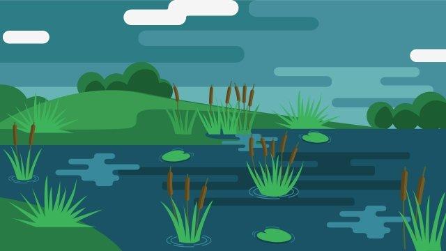 例證夏天池塘風景池塘夏天池塘 插畫素材 插畫圖片