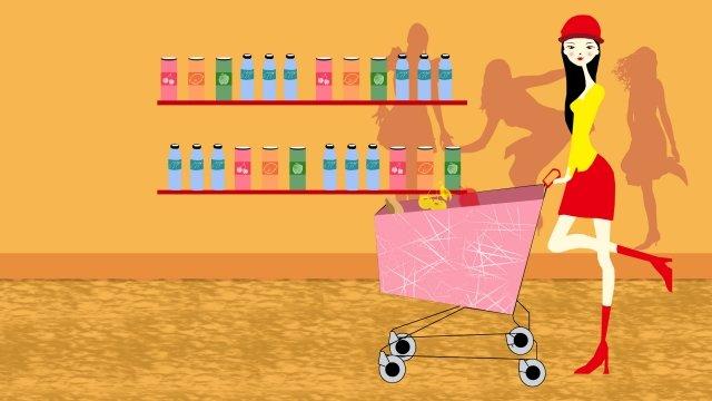illustration supermarket shelf cheerful, Commodity, Flat, Poster illustration image