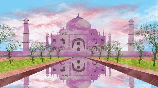 그림 taj 비쌉니다 유명한 관광 명소 삽화 소재