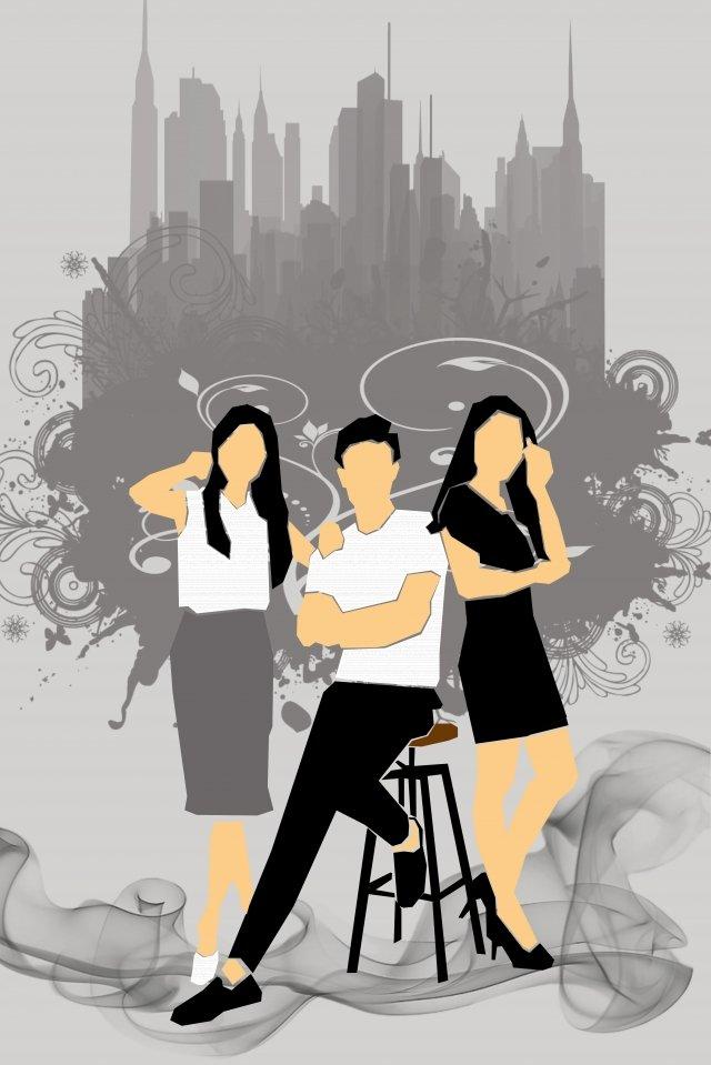 illustration team three people cooperation, Business, Collaboration, Modeling illustration image