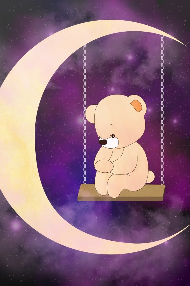 illustration teddy bear bear on the moon, Meniscus, Swing, Think About Things illustration image