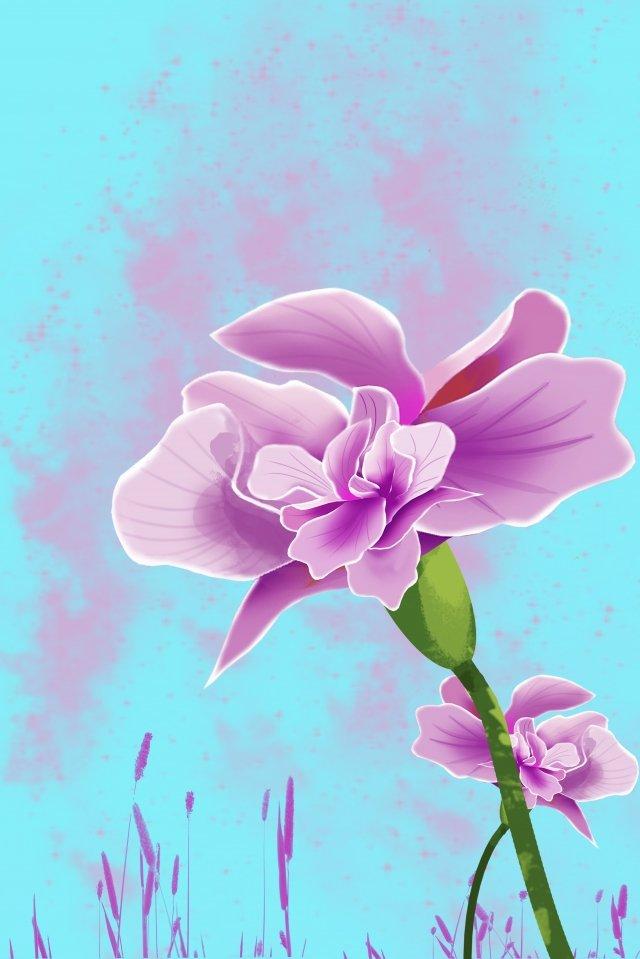 illustration theme flowers flower, Purple, Blue, Board Painting illustration image