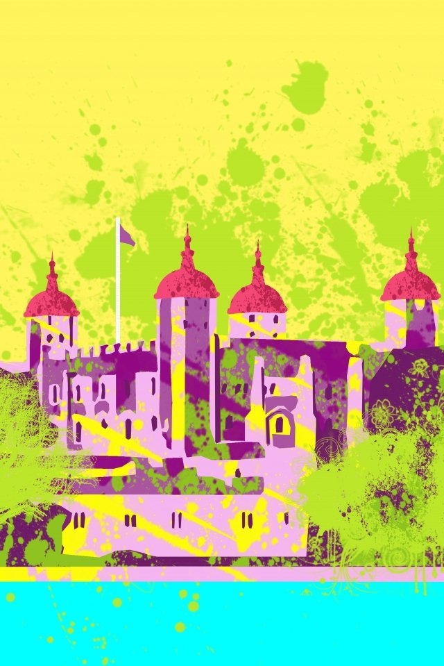 illustration united kingdom london tower of london, Famous, Building, History illustration image