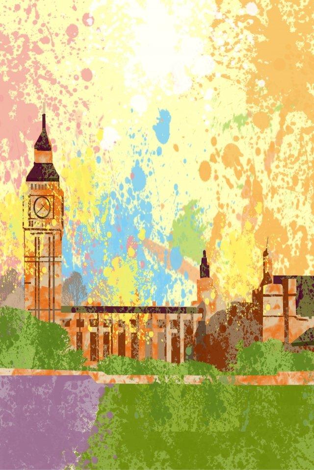 illustration united states harvard university building, Attractions, Classical, Clock Tower illustration image
