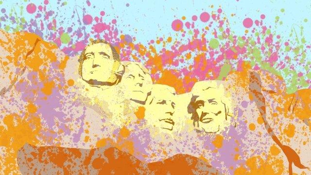 Illustration des célèbres attractions du Président Hill Illustration États Unis President Hill Attractions Personnalité Beau Couleur Célèbre Sculpture surPierre  Rock  Hill PNG Et PSD illustration image