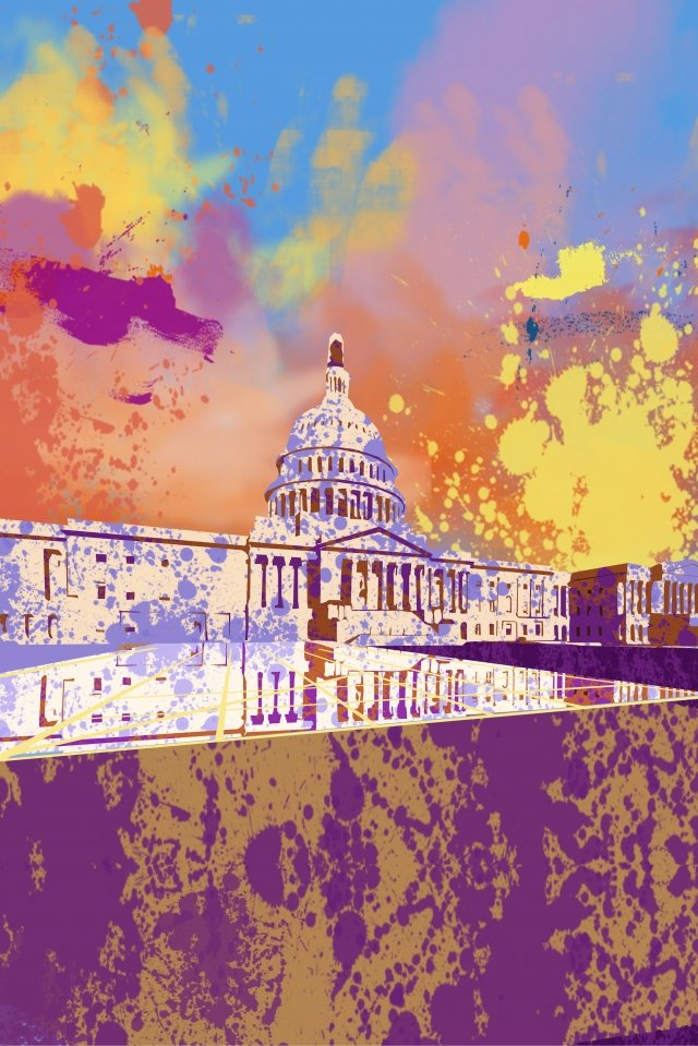 illustration united states white house building, Attractions, History, Famous illustration image