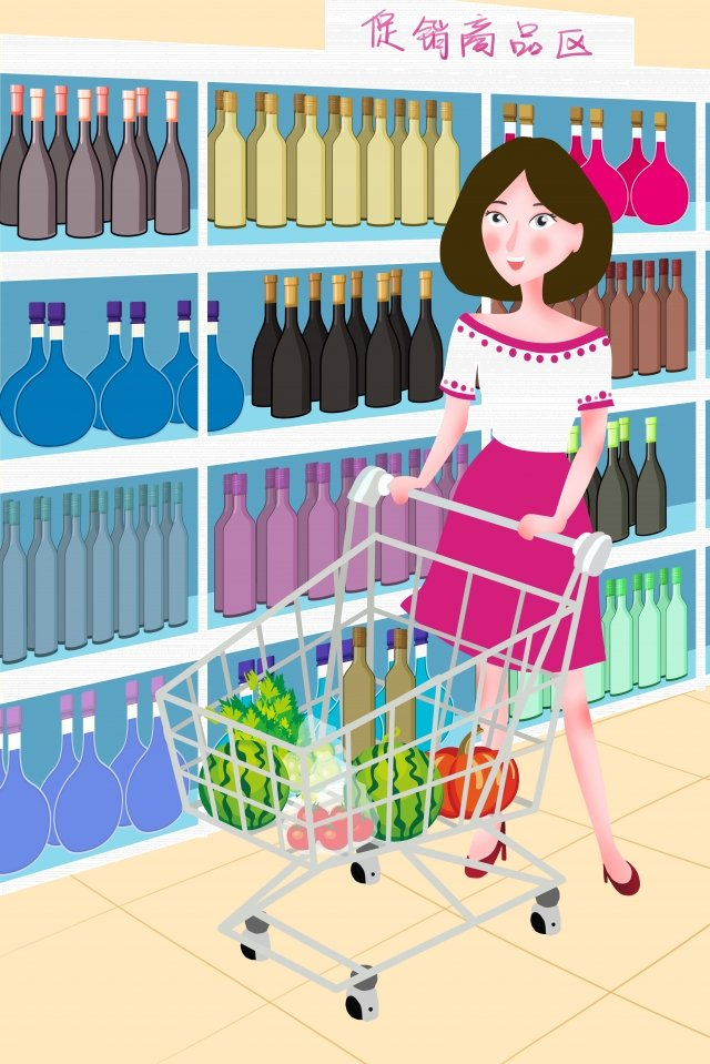 illustration weekend girl supermarket, Trolley, Visiting The Supermarket, Shelf illustration image