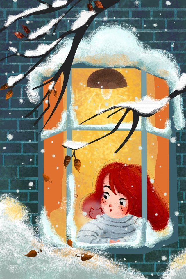 illustration winter osamu heavy snow, Dead Tree, Fallen Leaves, Window illustration image