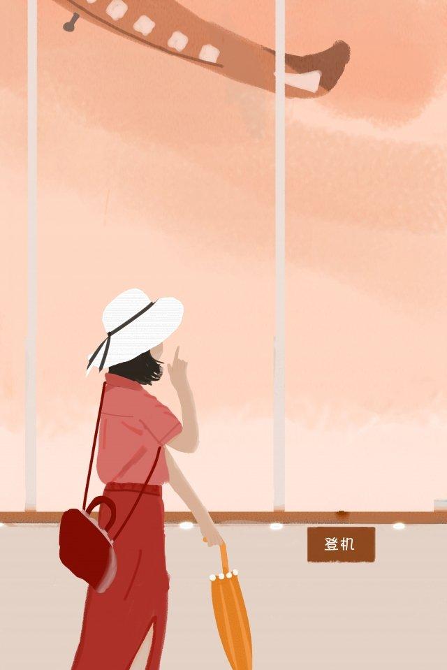 個人旅行飛機景觀 插畫素材