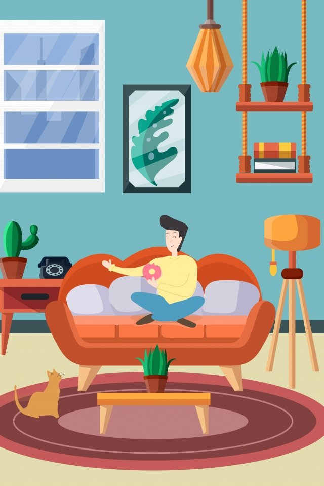indoor home furniture feed the cat, Cat, Boy, Young People illustration image