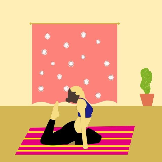 indoor warm yoga beauty yoga day, Carpet, Curtain, Plant illustration image