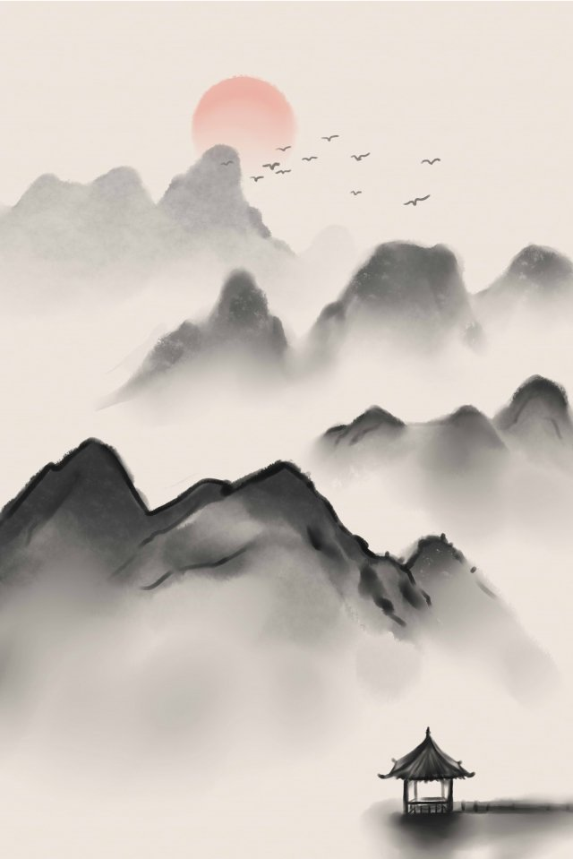 ink antiquity landscape traditional chinese painting, Artistic Conception, Retro, Ink Painting illustration image
