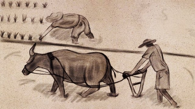 ink chinese style farming insert, People, Cattle, Seedling illustration image