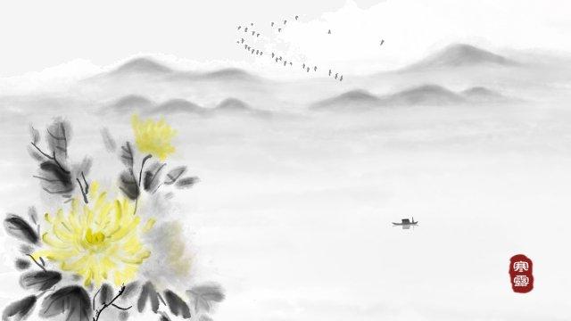 墨水菊花景觀寫意 插畫素材 插畫圖片