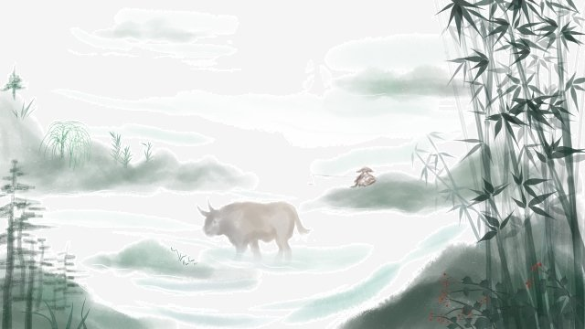 ink landscape ching ming festival hand painted, Illustration, Chinese Style, Buffalo illustration image