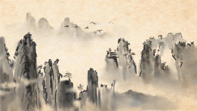 잉크 풍경 먼 산 비행 조류 삽화 소재 삽화 이미지