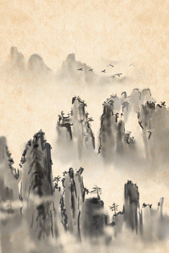 잉크 풍경 먼 산 비행 조류 삽화 소재