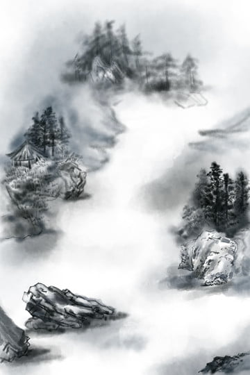 ink landscape misty rain mountain home, Loose, Ink, Landscape illustration image