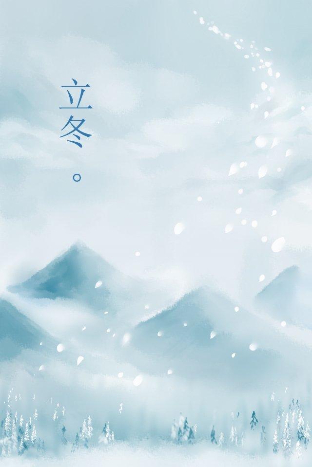墨水景觀冬季景觀 插畫圖片