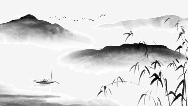 ink traditional chinese painting landscape background, Bamboo, Boat, Illustration illustration image