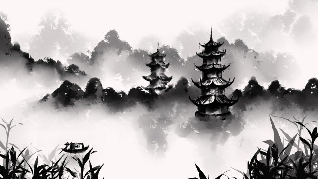 ink wind ink painting antiquity chinese style, Artistic Conception, Tower, Sun And Moon Tower illustration image
