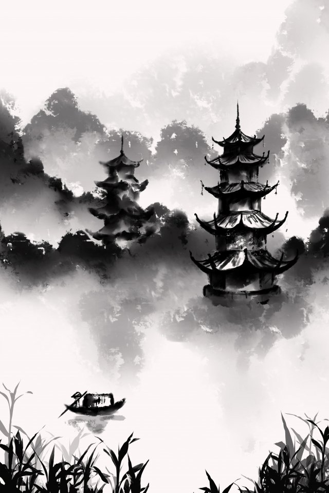 ink wind ink painting antiquity chinese style llustration image illustration image