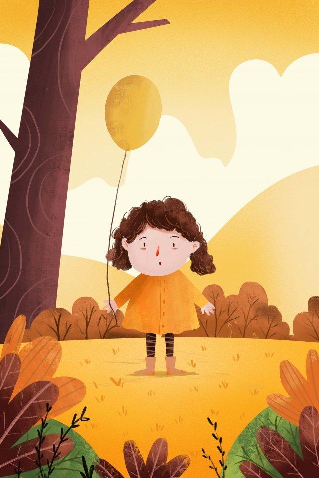 子供のイラストを挿入します。秋のソーラーイラストレーター イラスト素材