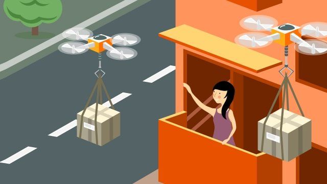 intelligent technology drone express delivery, Girl, Family, Community illustration image