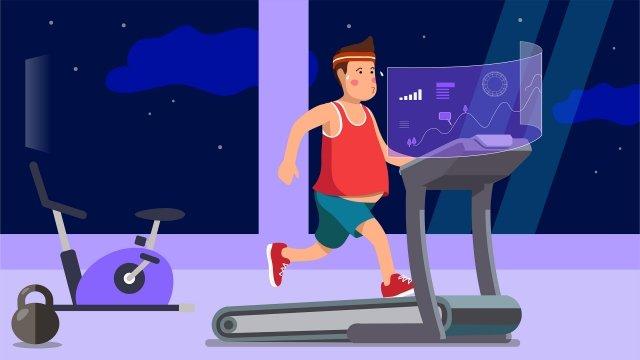 지능형 기술 디딜 방아 체육관 삽화 소재