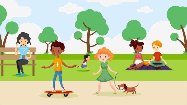 子供を実行しているボードを滑走犬を歩くインタラクティブなフィットネス イラスト素材