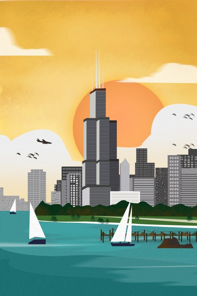 international city chicago united states architectural scenery llustration image