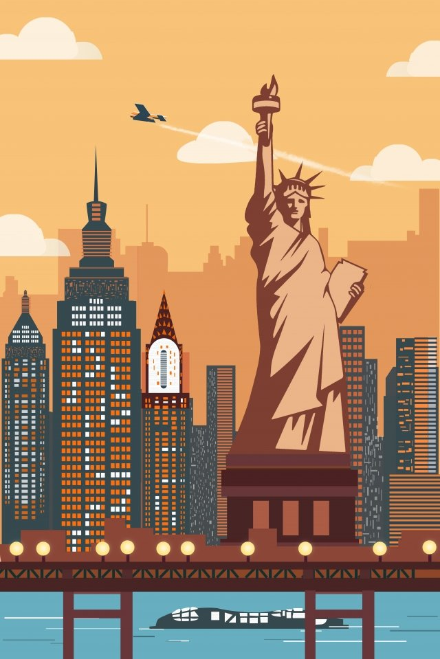 international city new york statue of liberty architectural scenery llustration image