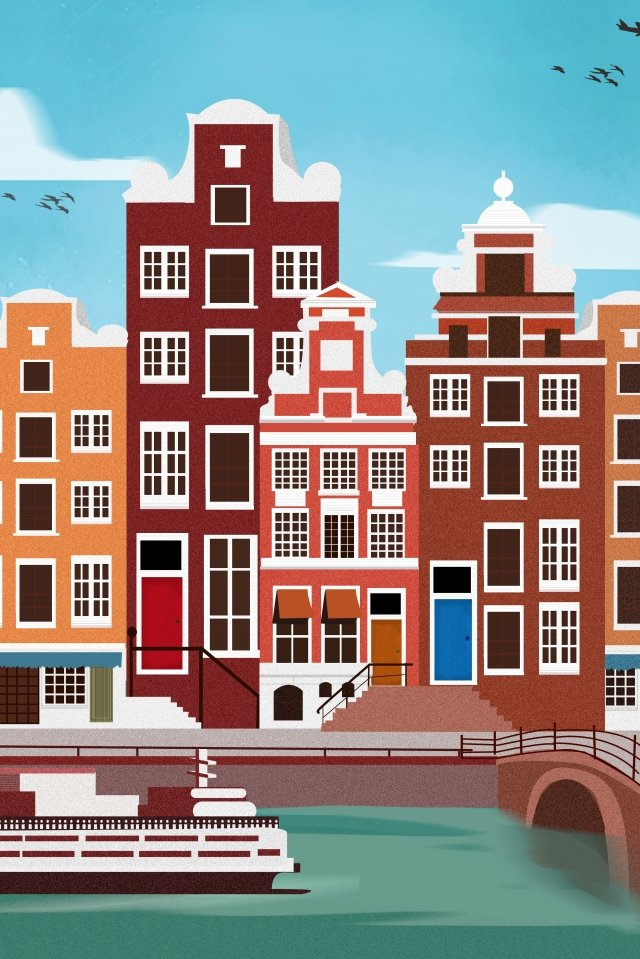 international city scenery architecture amsterdam landscape, Illustration, International City, Scenery Architecture illustration image