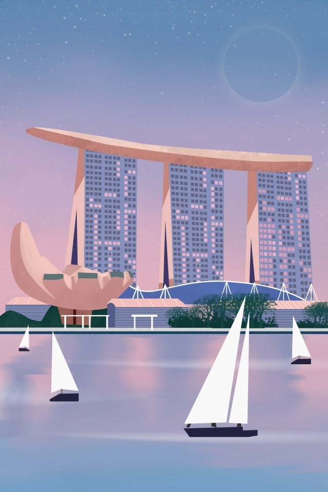 international city singapore scenery architecture llustration image