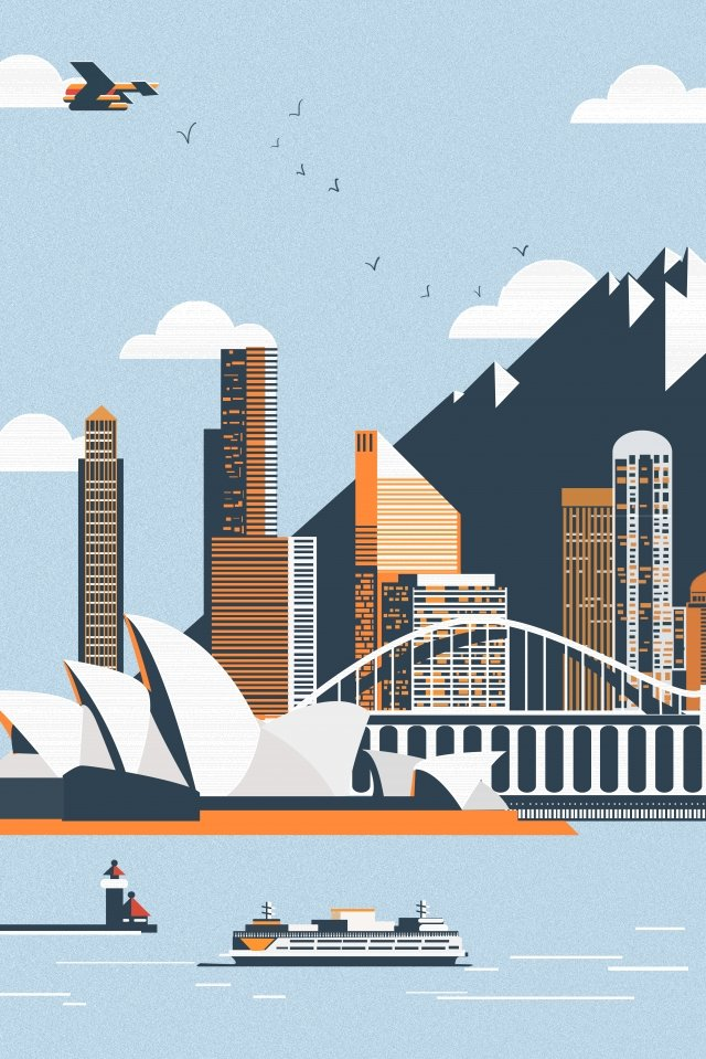 international city sydney opera landscape llustration image illustration image
