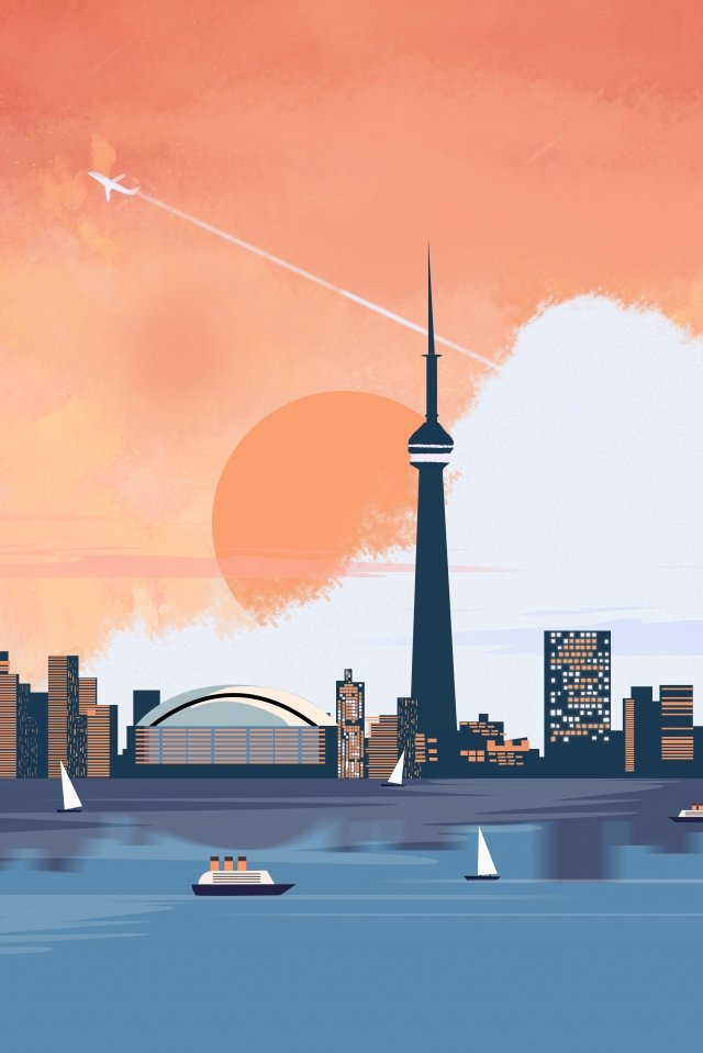 international city toronto canada, Landscape, International, City illustration image