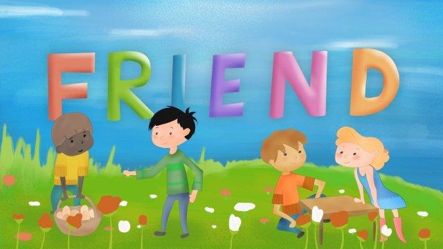 international friendship day background grassland llustration image