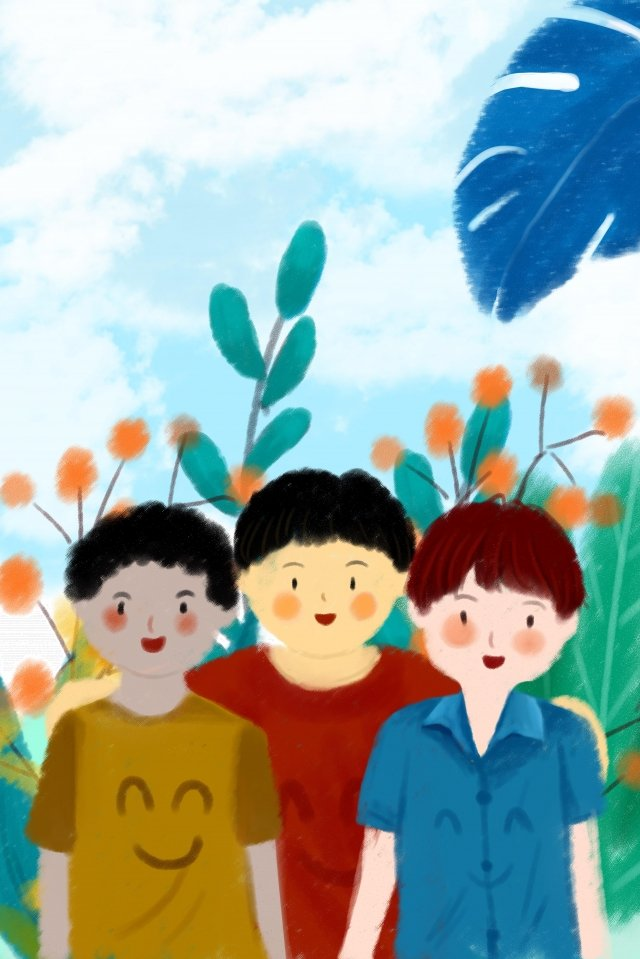 international friendship day boy lovely blue llustration image