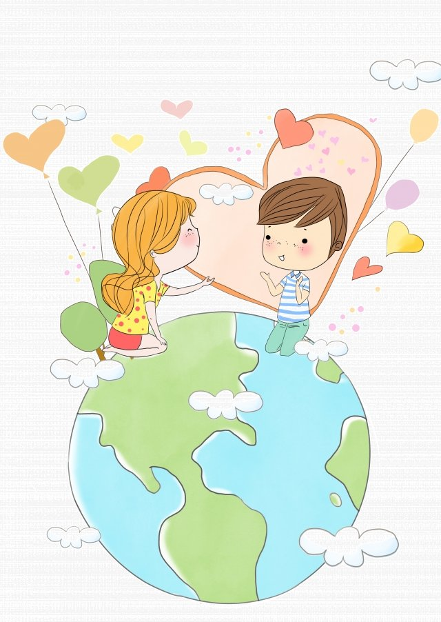international friendship day hand painted cartoon earth, Children, Friendship, Friend illustration image