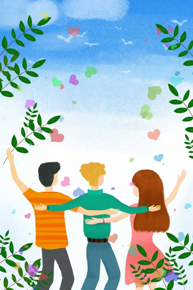international friendship day pure hand drawing illustration friend llustration image illustration image