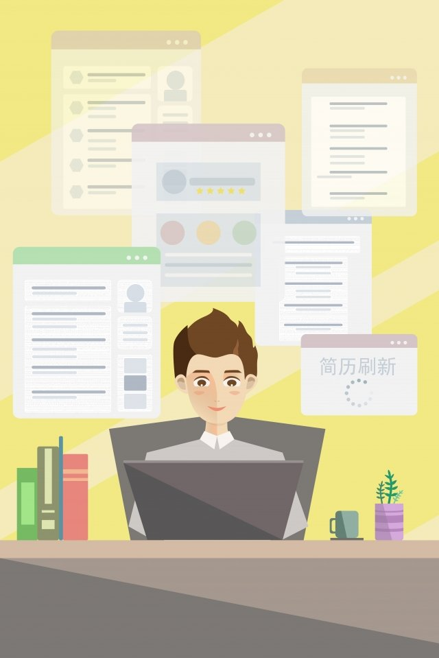 internet access job hunting refresh resume illustration, Male Staff, Jobs, Office illustration image