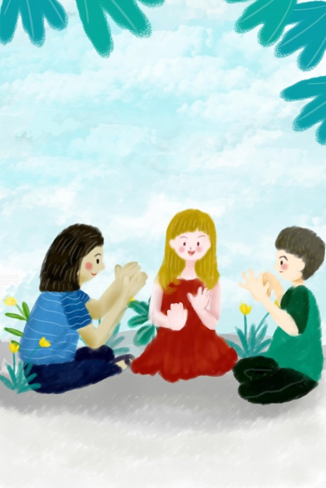 interracial child international friendship day play communicate with llustration image