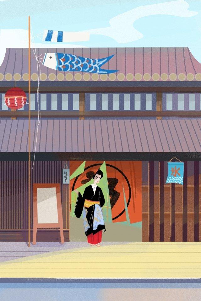일본 게이샤 문화 구축 삽화 소재 삽화 이미지