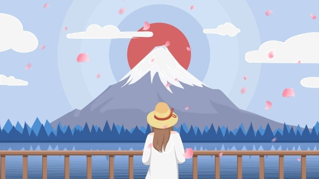 日本の桜の富士山観光 イラスト素材