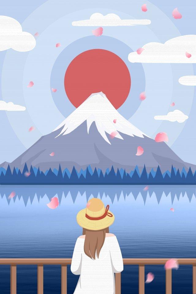 日本の桜の富士山観光 イラスト画像
