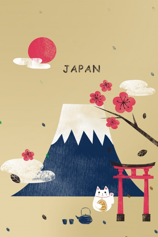 japan japanese tourism illustration, Mount Fuji, Cherry Blossoms, Zephyr illustration image