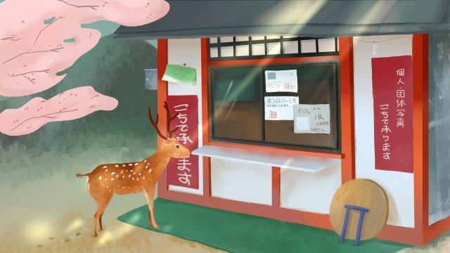 японский пейзаж олень японская архитектура Ресурсы иллюстрации